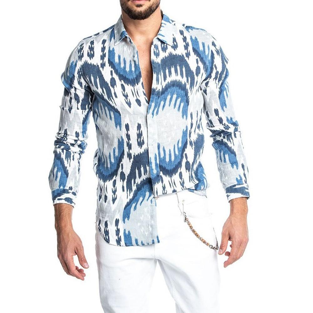 Urban Menswear Men Shirts Geometric Slim Fit Male Shirt Casual White Long Sleeve British Style Cotton Slim Men's Luxury Shirts