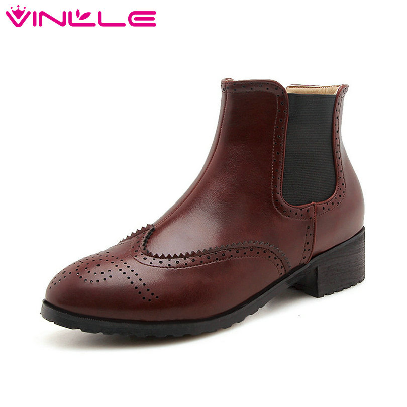 VINLLE 2019 Women Ankle Boots PU Leather Fashion Women