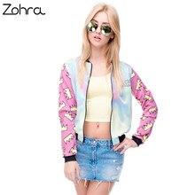 Zohra горячие продажа марка женщины куртка бомбардировщика 3d напечатаны принцесса корона пиджаки пальто университетский колледж куртки основные куртки