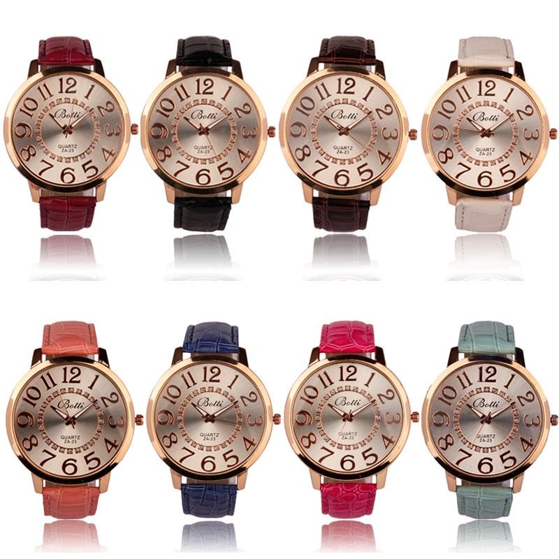 4a9cfcdaeb4 Novo quente das Mulheres Dos Homens de Luxo Da Marca Big Numerais Moda  Numerais Dial Ouro Couro Big Dial Horas Analógico de Quartzo Relógios de  pulso