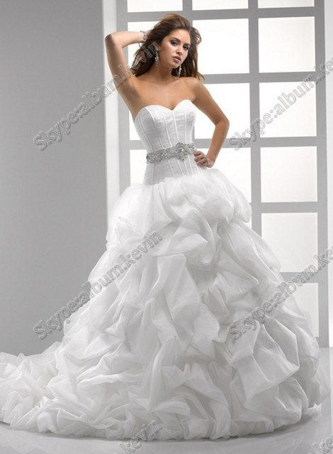 Ruffled Puffy Princess Ball Gown Plus Size Wedding Dress With ...