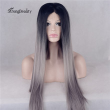 Strongbeauty Long Silky Straight Silver Wig Synthetic Ombre Black to Grey Lace Front Heat Resistant Wig for Black Women