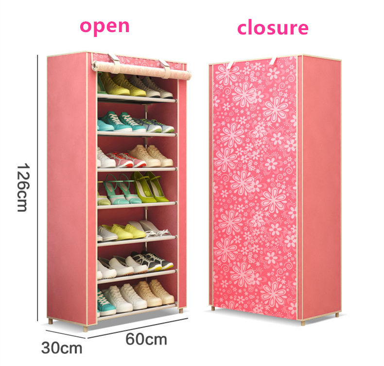Art Landscape Non-woven 6Tier Homestyle Shoe Cabinet Shoes Racks Storage Large Capacity Home Furniture Diy Simple