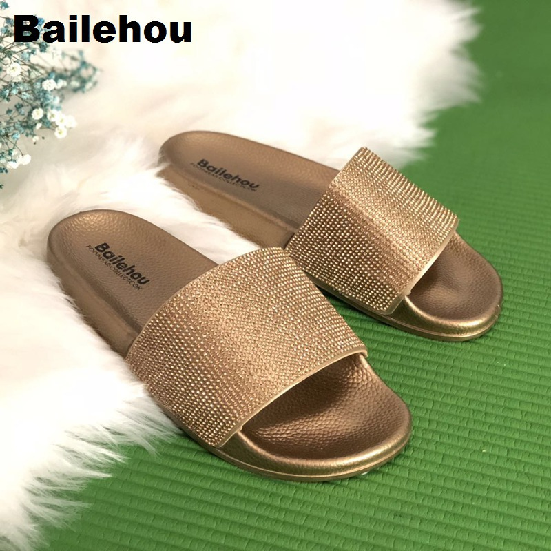 Bailehou New Arrivals Women Slippers Beach Slip On Slides Crystal Diamond Slippers Soft Home Flip Flops Bling Women Shoes Female bailehou fashion women slippers crytal flip flops sandals slip on slides beach slipper flat casual shoes diamond bohemian shoes