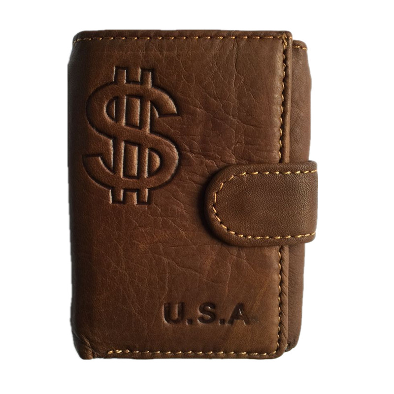 Brand Genuine Leather Men's Wallet Vintage Cowhide Leather small Short Purse With Coin Pocket fashion retro card holder