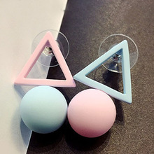 Fashion 1Pair Aiffry Triangle Different Candy Color Earrings For Women Stud Earrings Korean Style Jewelry