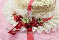 Princess sweet lolita sun hat fedoras Red strawberry summer lovely lace bow polka dot ribbon handmade straw hat custom for 3days