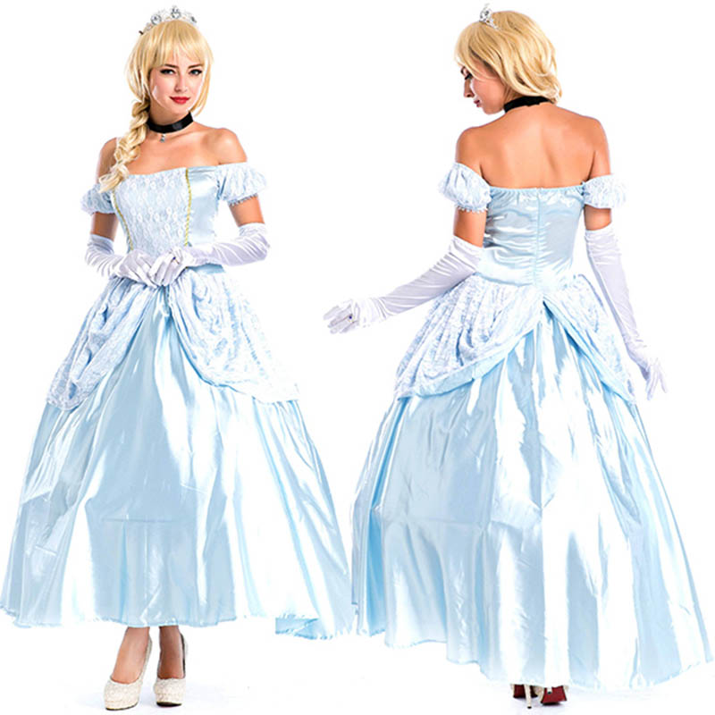 Deluxe Adult Womens Sexy Blue Halloween Party Princess Costumes Outfit Fancy Cinderella Lolita Cosplay Dresses With Gloves