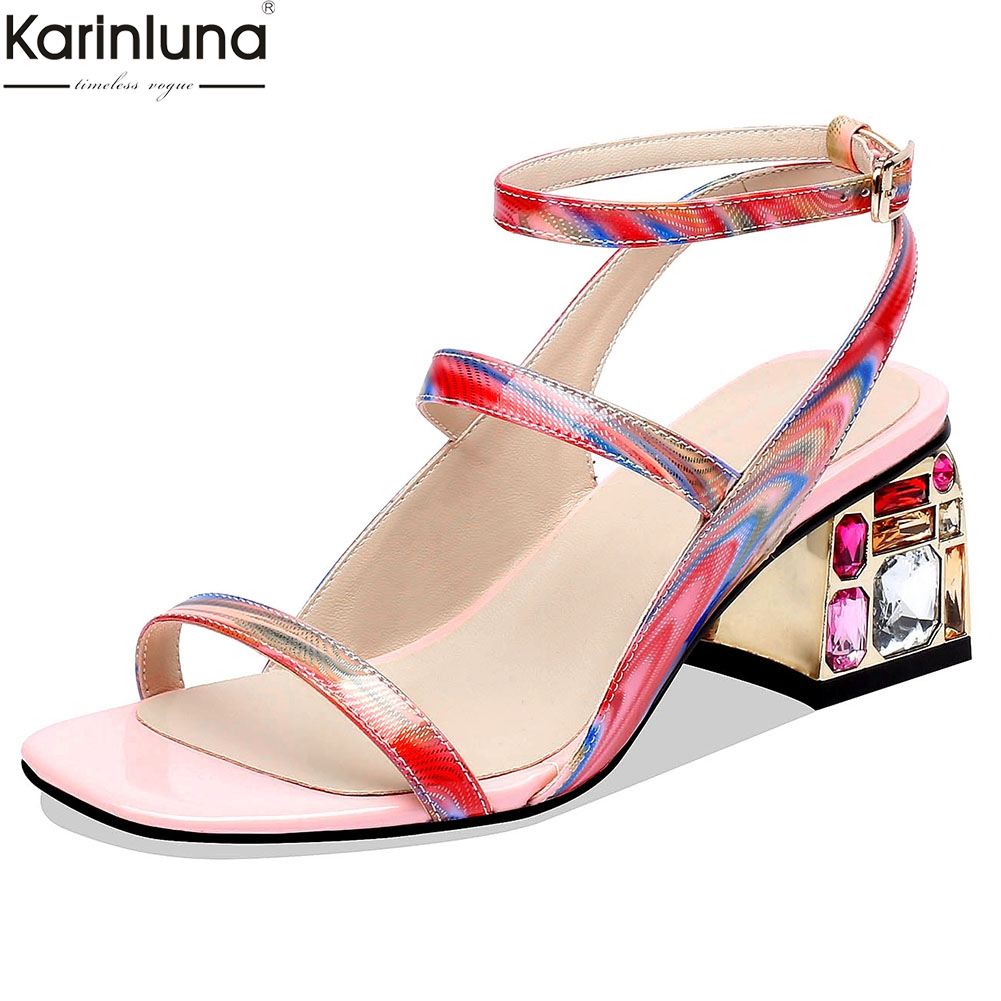 2019 fashion genuine patent leather shoes Sandals women Summer sandals woman party Shoes Woman size 34
