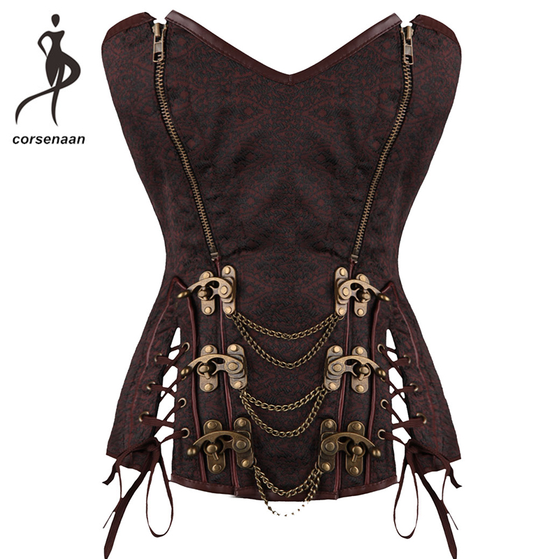 Dark Brown Women's   Bustier   Overbust   Corsets   Retro Sweetheart Steampunk   Corset   With Chains 10 Steel Bone Clasp Closure 925#
