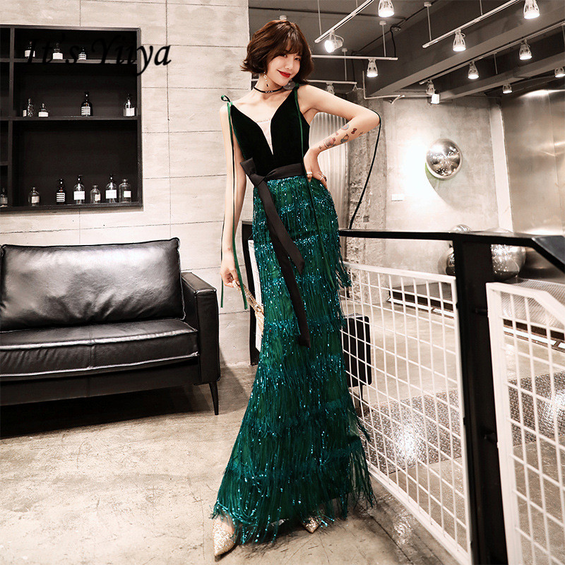 It's YiiYa Evening Dress Black Green Patchwork Fashion Spaghetti Strap Formal Trumpet Dresses Bling Sequins Long Party Gown E041