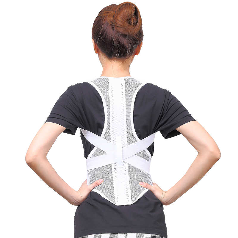 100% new brand high quality Women Adjustable Therapy Back Support Braces Belt Band Posture Shoulder Corrector for Fashion Health