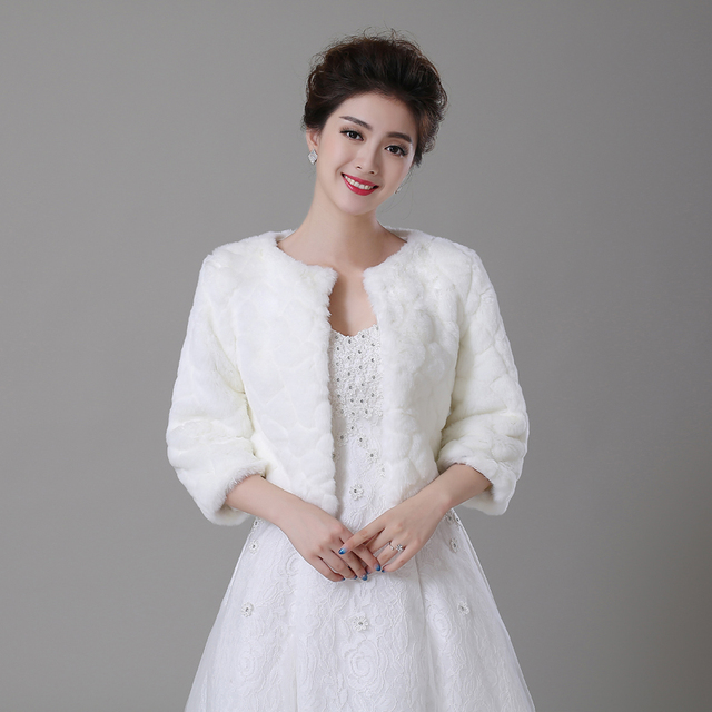 Women winter faux fur long 3 4 sleeve wedding jacket for Womens dress jacket wedding
