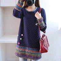 2016 Autumn Winter Kimono Linen Flannel Splice Rainbow Striped Shirt Elegant Ladies Polka Dot Blouse Embroidery
