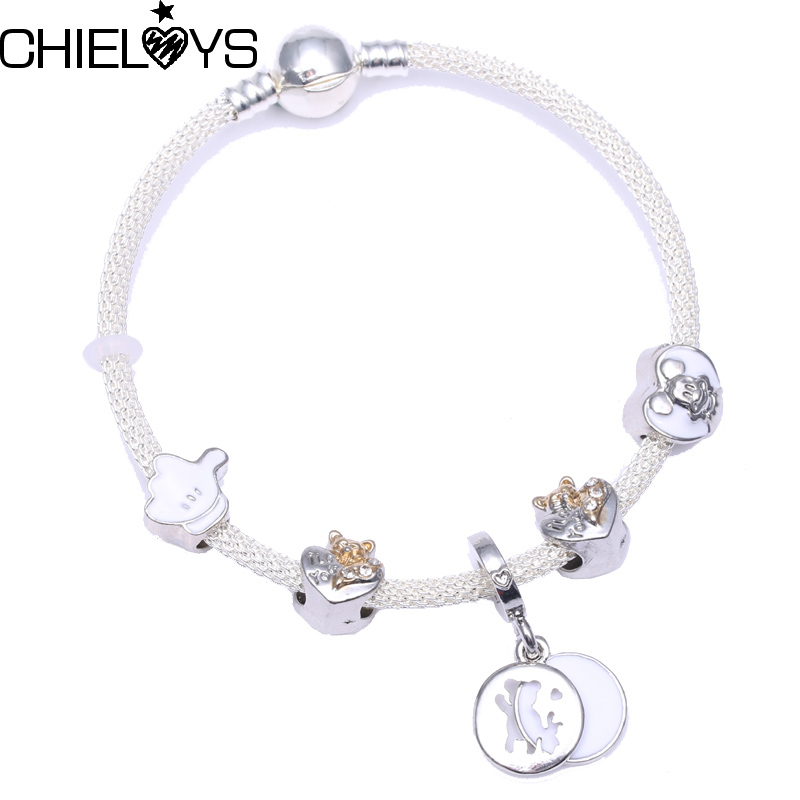 CHIELOYS Fashion Cartoon Pendant With White Murano Glass Beads Charm Bracelet Fit DIY Pandora Strand Bracelet Handmake Jewelry