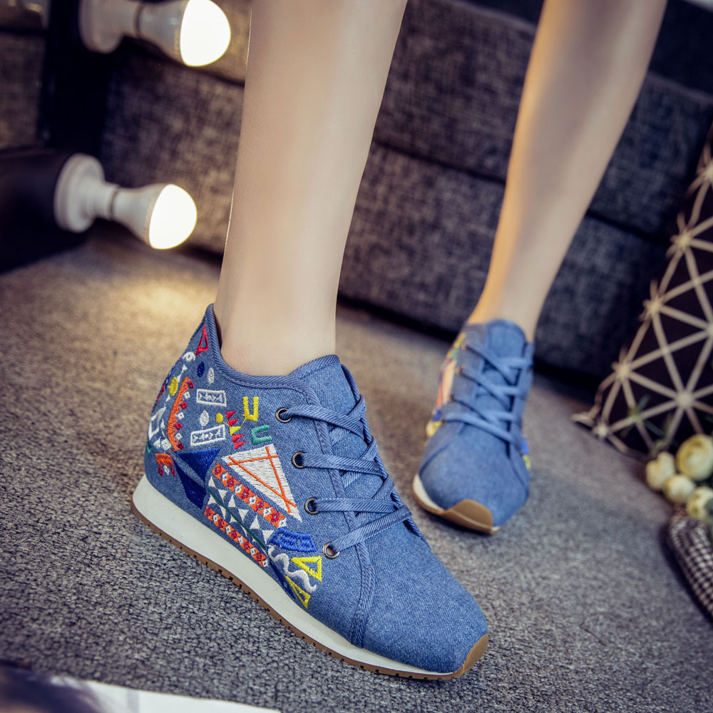 Chinese Style Women Autumn Winter Fashion Casual Lace Up Embroidery Vulcanize Shoes Female Plus Size Cloth Fabric Shoes Smink 9