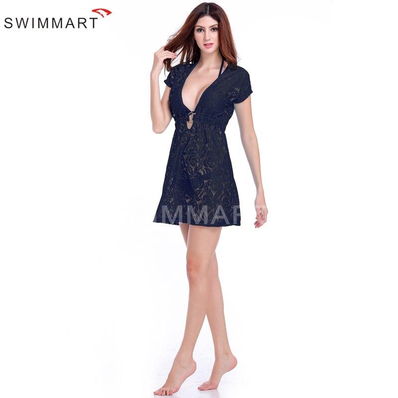 2016 new openwork crochet beach dress Perspective hollow deep V sexy dress cover ups pareo beach cover up
