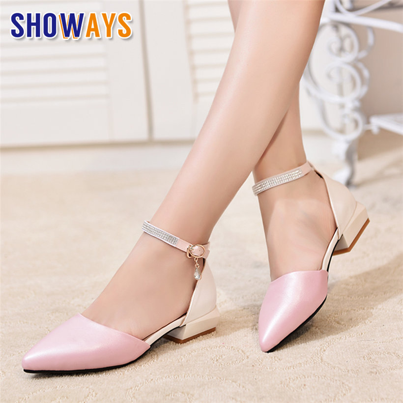 White Summer Women Pumps Low Square Block Heel PU Leather Pointed Toe D'Orsay Pink Wedding Office Crystal Ankle Strap Lady Shoes