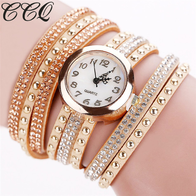 CCQ 2017 Fashion Luxury Women Bracelet Watch Ladies Casual Quartz Wristwatch Rel