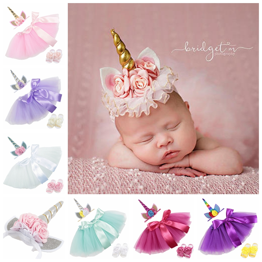 New 0~2 Years Newborn Unicorn Horn Headbands Tutu Dress With Barefoot Sandals Sets Baby Photography Props Cute Birthday Gift