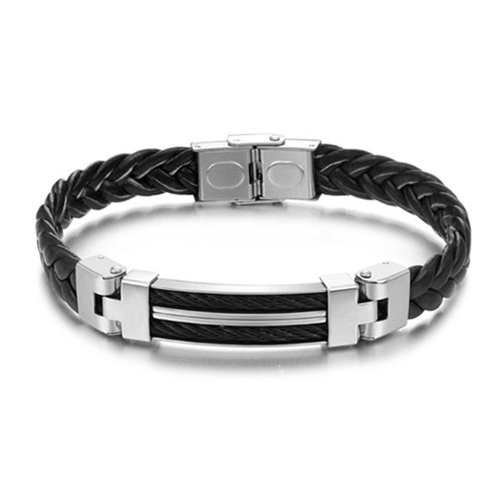 ᗑ】Titanio Cadena de acero inoxidable pulsera negro trenza la ...