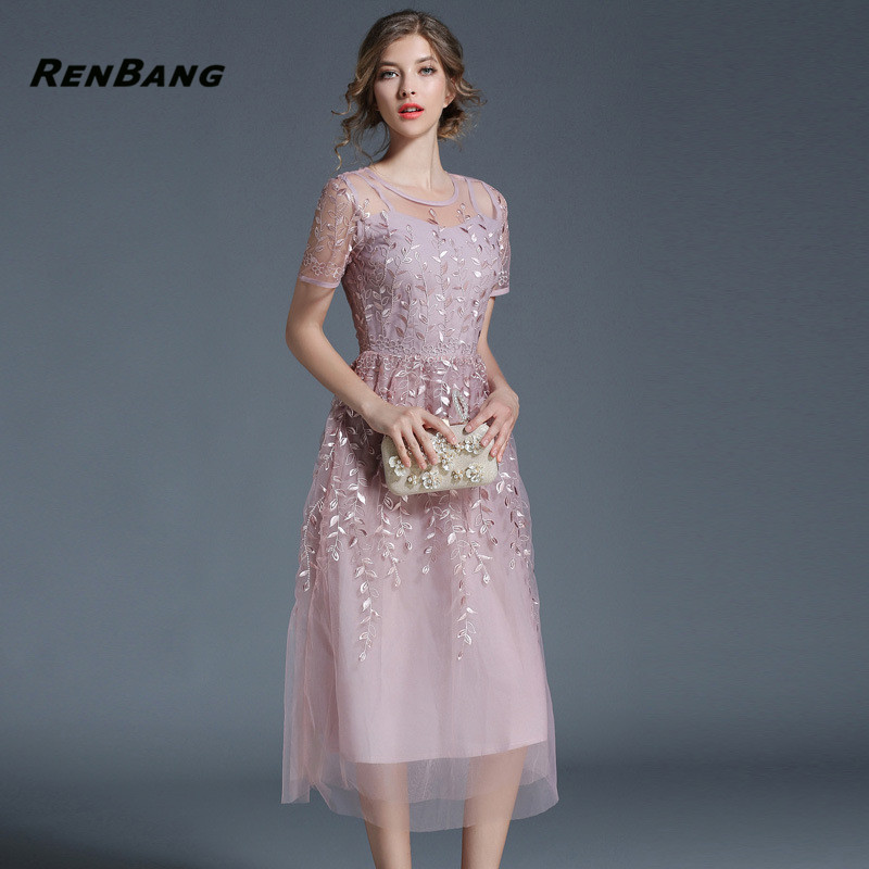 RENBANG Sexy Lace Perspective Dress Women O-Neck Slim Embroidery Dress Ladies Summer Fashion Hollow Out Party Dress