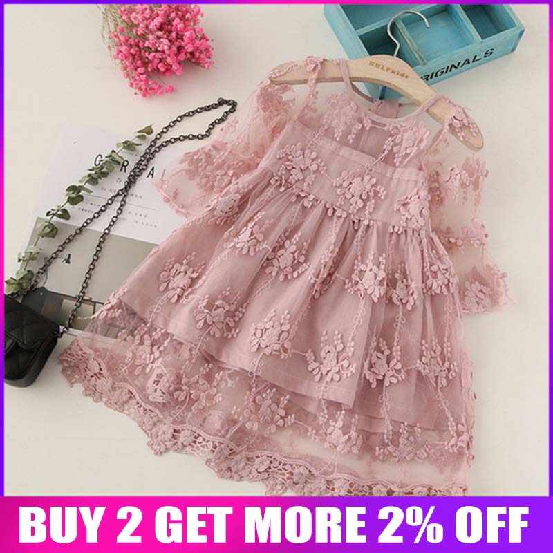 BibiCola Summer Girl Clothes Kids Dresses For Girls Lace Flower Dress Baby Girl Party Wedding Dress Children Girl Princess Dress