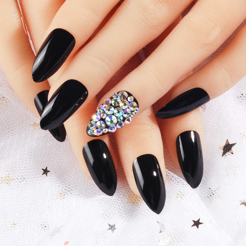 Black press on nails bling crystal nail art false pointed fake ...