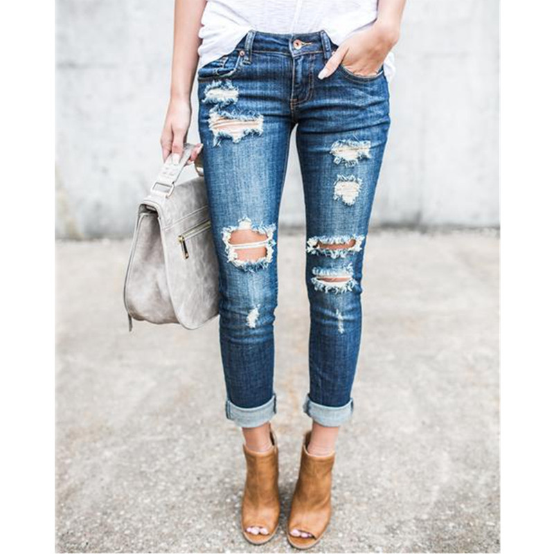 Casual Long Jeans Women High Waist Skinny Pencil Blue Denim Pants ladies Ripped Hole Vintage Slim Fit Skinny mom jean boyfriend Jeans Women Bottom ! Plus Size Women's Clothing & Accessories