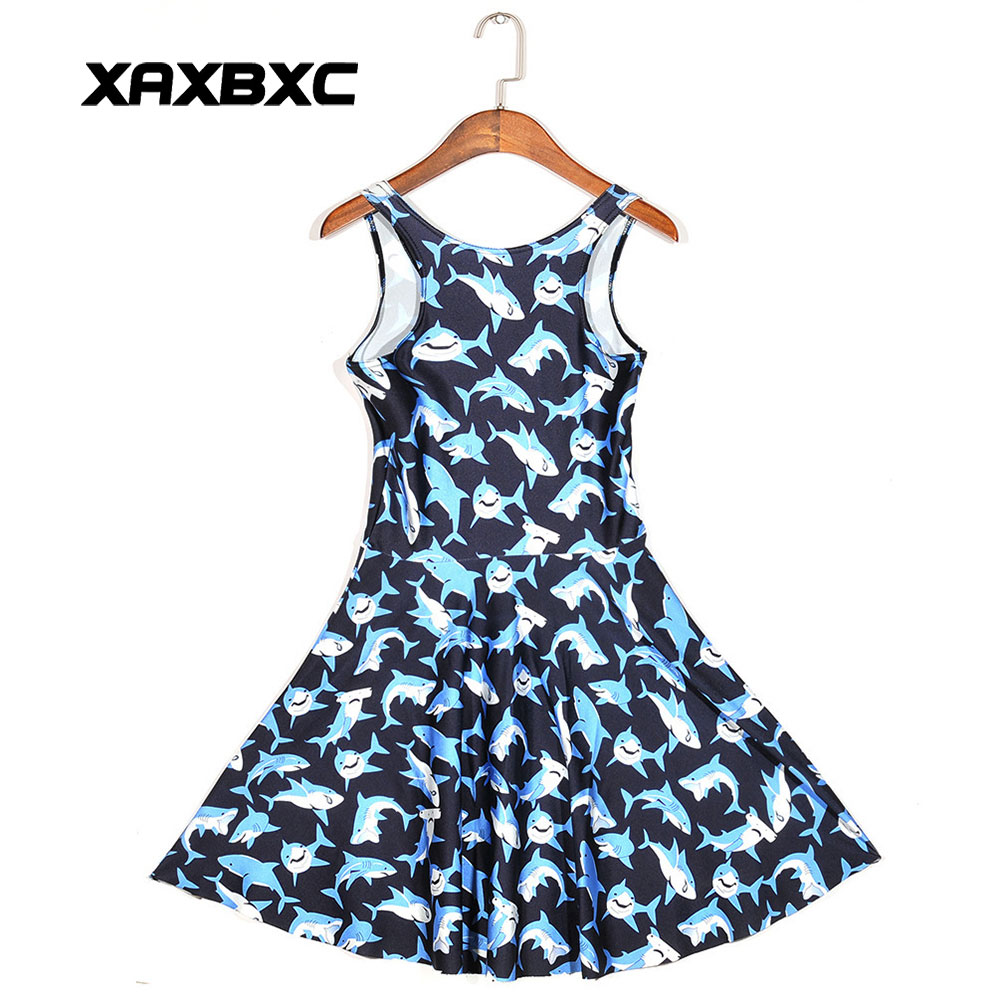 49d5b709bd XAXBXC Plus Size Fashion Women Summer Reversible Pleated Dress Sexy Gril  Vest Skater Dress Blue Animal Shark Emoji Prints-in Dresses from Women s  Clothing ...