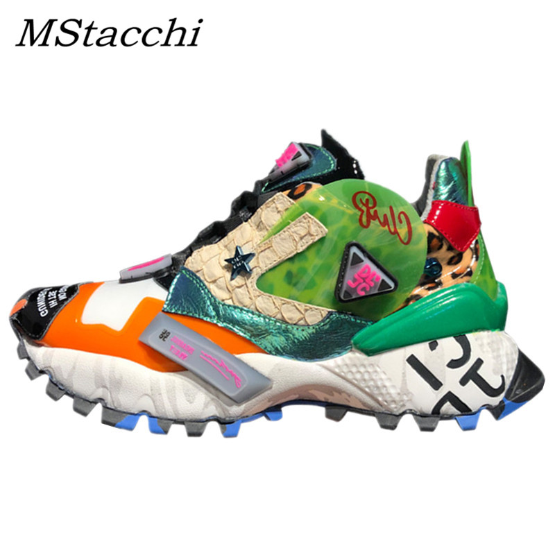 MStacchi baskets Graffiti imprimé léopard plate-forme baskets à lacets chaussures femme rue en cuir véritable fond épais papa baskets