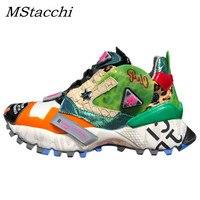 Barato Zapatillas de deporte MStacchi zapatillas de plataforma con estampado de leopardo Graffiti con cordones zapatos de
