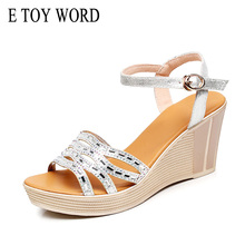 E TOY WORD Rhinestone Wedges Women's sandals Fashion Summer Shoes Platform Sandals Woman open toe High Heel Sandals Size 34-43 цены онлайн