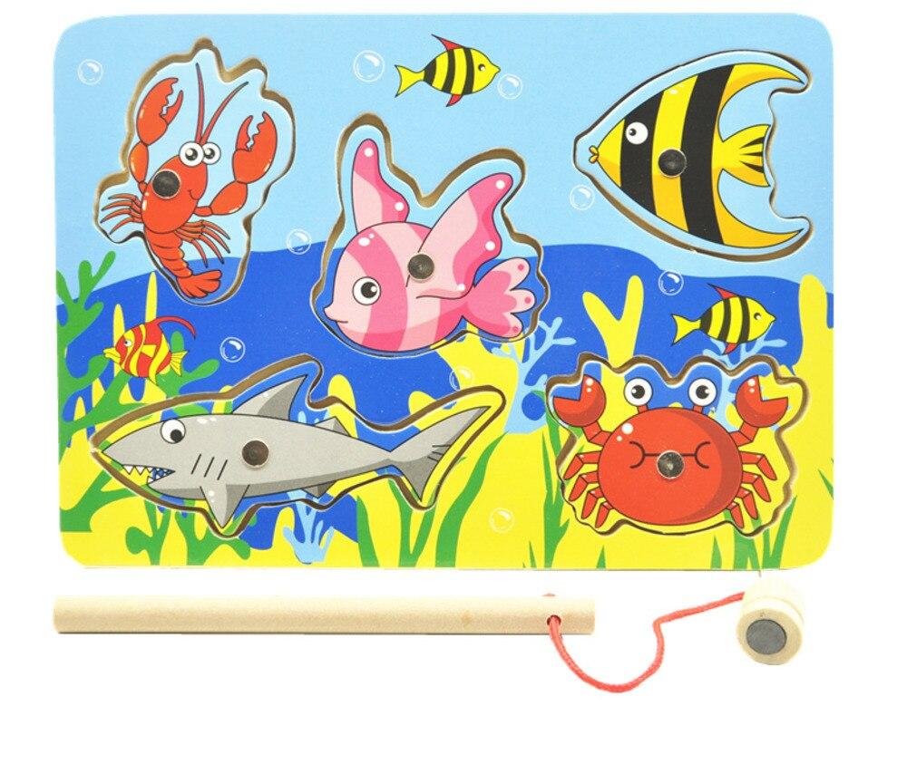 B Детские деревянные игрушки обучения Дерево магнит игра рыбалка Малый Магнитные пазлы Таблица Ферма образования игрушки для детей