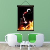 Vino e vino di vetro Con Cornice Scroll Pittura HD Art Wall Hanging Foto di Soggiorno Decorazione della Tela di Canapa Pittura HD Stampato