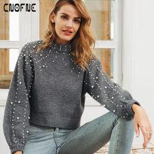 Pull Femme perla cuello alto invierno suéter mujeres linterna manga  pullover femenino otoño caliente suave casual d22d6e0d82cc