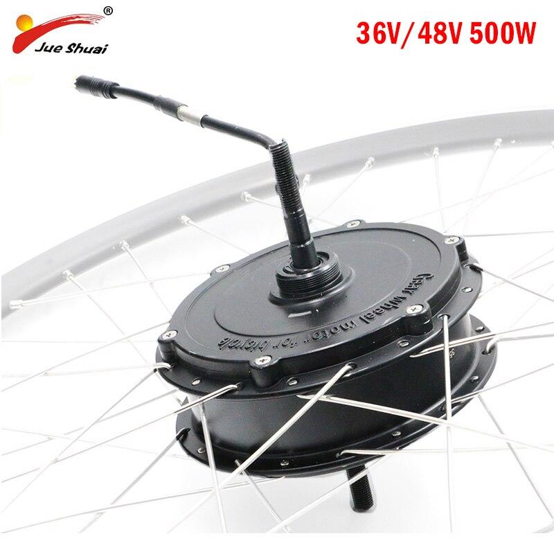 48 V/36 V 500 W moteur de moyeu de vélo électrique V/frein à disque vélo de ville vtt avant arrière moteur d'entraînement BLDC Ebike moteur sans brosse motoréducteur