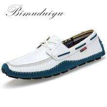 BIMUDUIYU Tamaño Grande de Alta Calidad de Los Hombres de Cuero Genuino Zapatos Mocasines Moda Suave Hombres de la Marca Pisos Comfy Casual Conducción Boat38-47