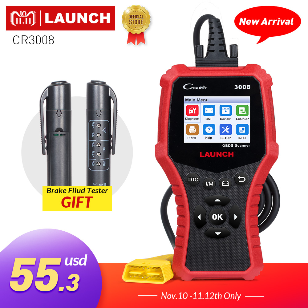 купить LAUNCH OBD2 Scanner OBDII Auto diagnostic tool CR3008 Universal OBD 2 Engine Code Reader free update X431 Creader 3008 pk KW850 по цене 5371.8 рублей