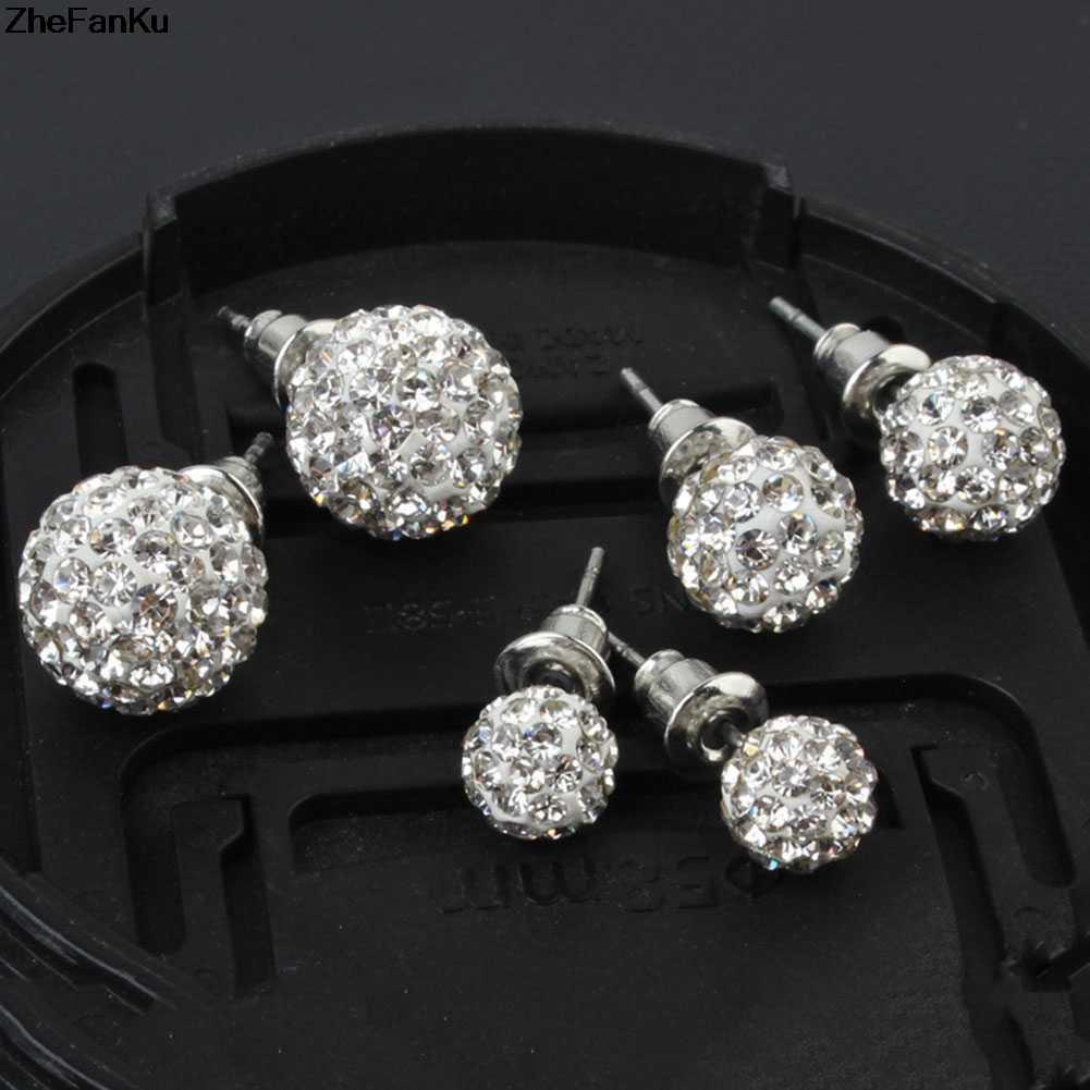 d7a276d52 1 pair Pave Disco Ball Genuine Stud Earrings High Quality 10mm 8mm 6mm  Clear Austrian Rhinestone