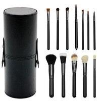 Light Blue Professional Makeup Brush Set 12Pcs Kit PU Leather Cup Holder Case Kit Pro Women