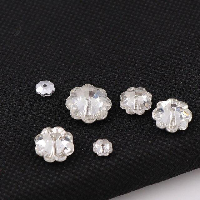 Plum Flower Flatback Crystal Clear Sew On Stone With One Middle Hole Sewing  Rhinestone DIY Wedding Dress Decoration 9d0447a37ac6