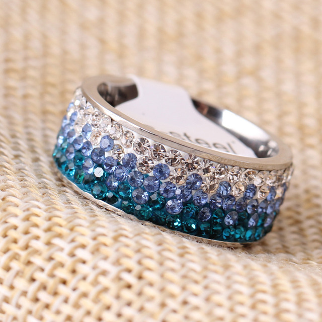 6/7/8/9# different Color Line Crystal Fashion Jewelry Ring Wholesale Fashion Stainless Steel Ring for women 5