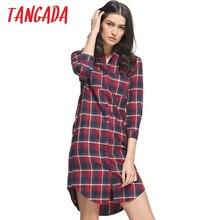 Tangada Осенняя Мода Красный Плед Хлопок Рубашки Платья Для Женщин Turn Down Воротник Карманный Повседневная Марка Vestidos Femininos QB02(China (Mainland))