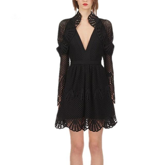 c906c97269cd High Quality Self Portrait Dress 2018 Women Autumn Sexy Long Sleeve V-neck  Black Hollow Out Lace Dress Slim Mini Party Dresses
