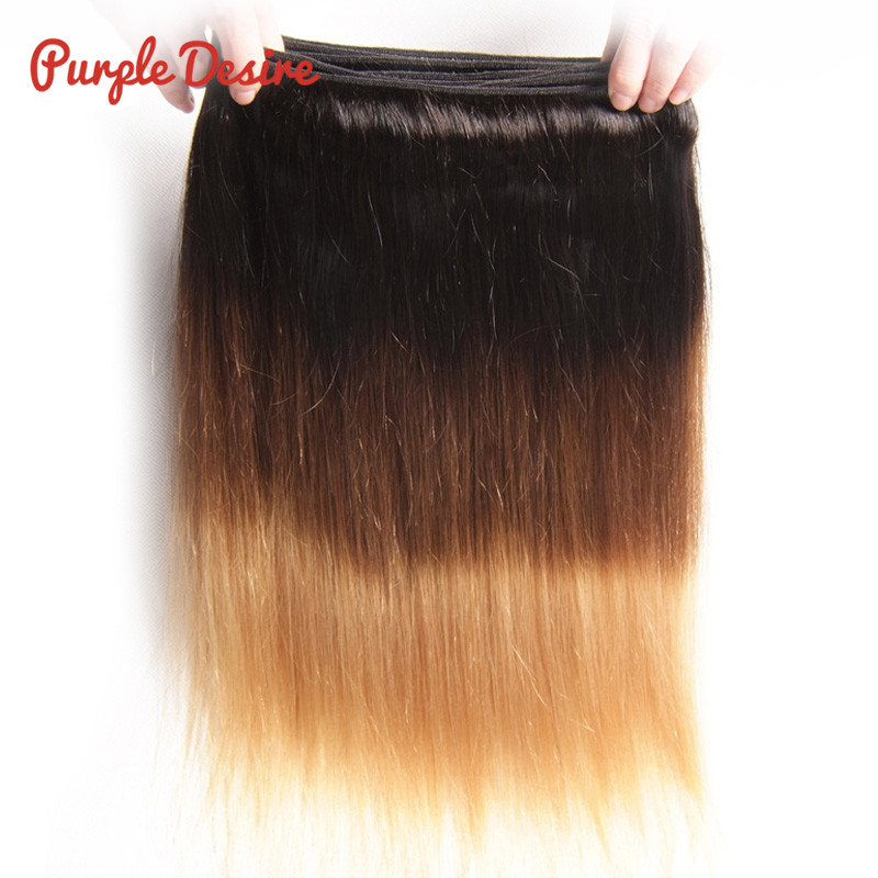 Brazilian Straight Hair T1B430 Ombre Human Hair Weave Bundles 13 Pieces 8-26Inch Honey Blonde 3 Tone Real Remy Hair Extension (2)
