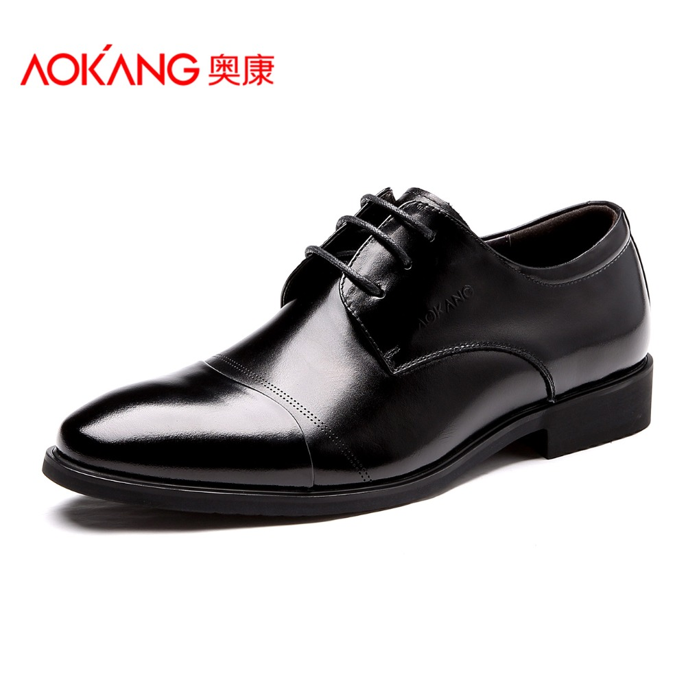 Aokang Men Dress Shoes Genuine Leather 2017 Fashion Men s Oxford Shoes Leather Derby Shoe Lace