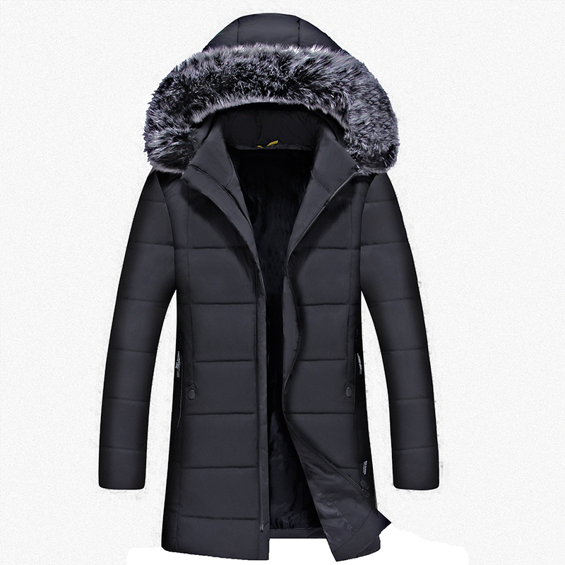 2017 casual 3XL New Men Padded Parka Winter Polyester Coat Thick Parkas With Raccoon Fur Collar Fashion Coat Mens Free Shipping zip up camouflage panel hoodie and sweatpants