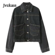 Jvzkass 2018 autumn bf Harajuku irregular short section denim jacket female loose wild student tide Z216