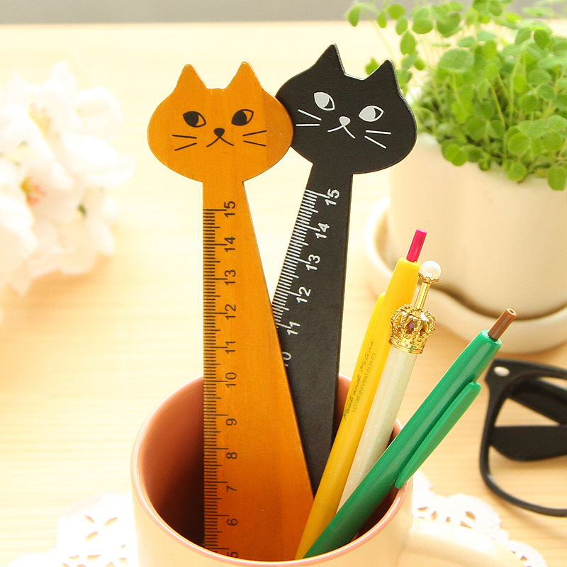 2 pcs/lot Lovely Cat Shape Ruler 15cm Cute Wood Animal Straight Ruler Gift For Kids School Supplies Stationery Black Yellow